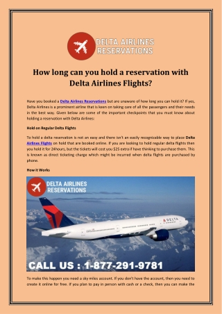 How long can you hold a reservation with Delta Airlines Flights?