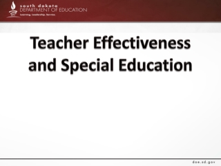 Teacher Effectiveness and Special Education