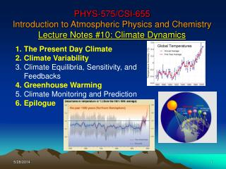 PHYS-575/CSI-655 Introduction to Atmospheric Physics and Chemistry Lecture Notes #10: Climate Dynamics