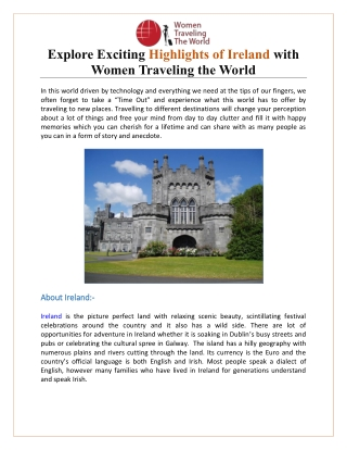 Explore Exciting Highlights of Ireland with Women Traveling the World