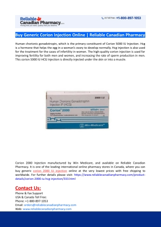 Buy Generic Corion Injection Online-Reliable Canadian Pharmacy