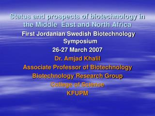 Status and prospects of biotechnology in the Middle  East and North Africa