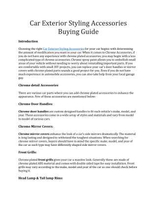 Car Exterior Styling Accessories Buying Guide