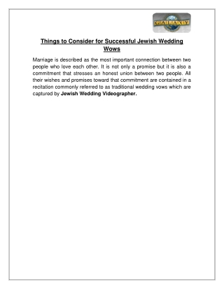 Things to consider for Successful Jewish Wedding Wows