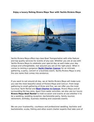 Boat Charter Cancun