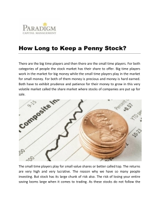 How Long to Keep a Penny Stock?