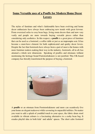 Some Versatile uses of a Pouffe for Modern Home Decor Lovers