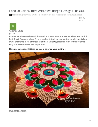 Fond Of Colors? Here Are Latest Rangoli Designs For You!!