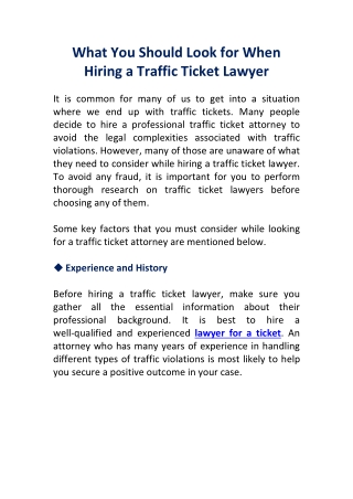 What You Should Look for When Hiring a Traffic Ticket Lawyer