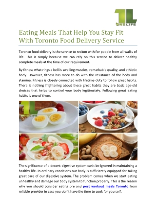 Eating meals that help you stay fit with Toronto food delivery service