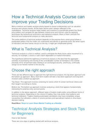 How a Technical Analysis Course can improve your Trading Decisions