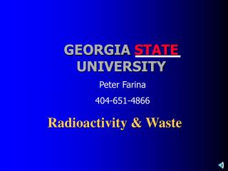 Radioactivity & Waste