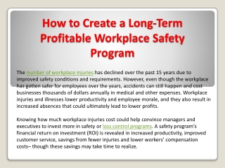How to Create a Long-Term Profitable Workplace Safety Program