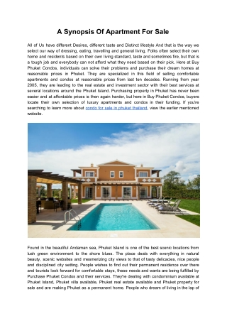 A Synopsis Of Apartment For Sale