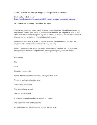 ARTS 230 Week 5 Creating Conceptual Art Paper//tutorfortune.com