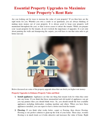 Essential Property Upgrades to Maximize Your Property's Rent Rate