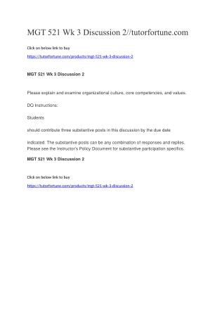 MGT 521 Wk 3 Discussion 2//tutorfortune.com