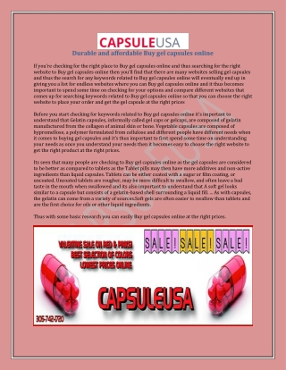 Durable and affordable Buy gel capsules online