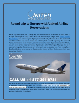 Round trip to Europe with United Airline Reservations
