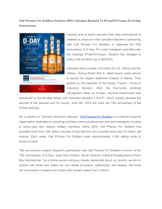 Cell Phones For Soldiers Partners With Calvados Boulard To #ToastToTroops On D-Day Anniversary