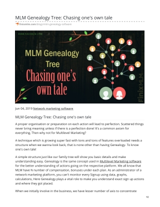 MLM Genealogy Tree: Chasing one's own tale