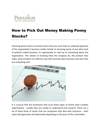 How to Pick Out Money Making Penny Stocks?