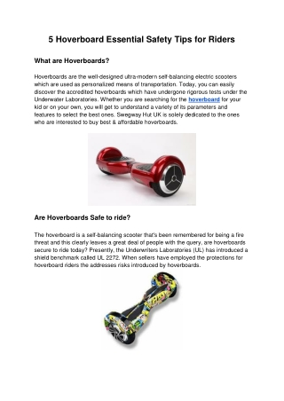 5 Hoverboard Essential Safety Tips for Riders