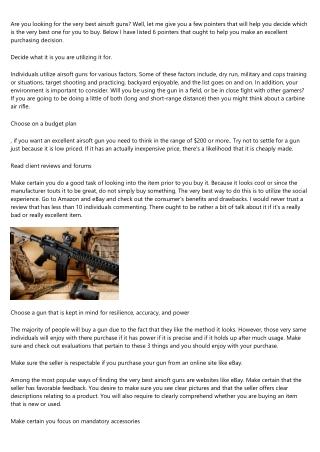 Airsoft Guns - How to Choose the very best Airsoft Gun