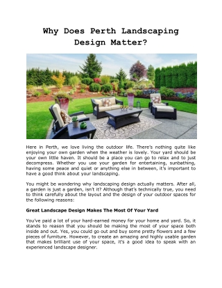 Why Does Perth Landscaping Design Matter?