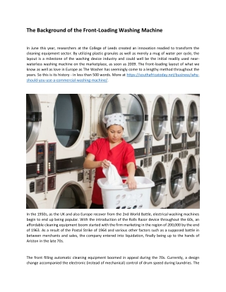 The Background of the Front-Loading Washing Machine