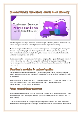Customer Service Provocations and How Outsourcing Can Assist