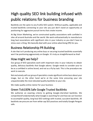 High quality SEO link building infused with public relations for business branding