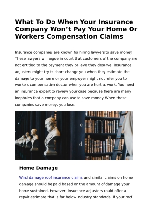 What To Do When Your Insurance Company Won't Pay Your Home Compensation Claims