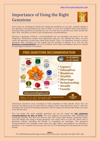 Importance of Using the Right Gemstone