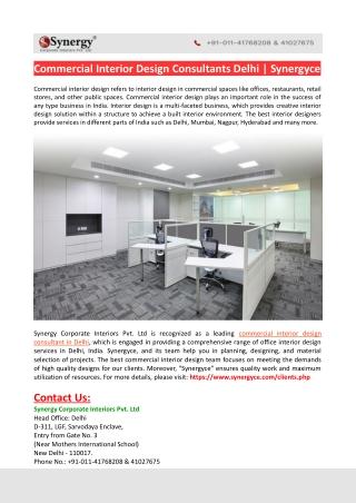 Commercial Interior Design Consultants Delhi-Synergyce