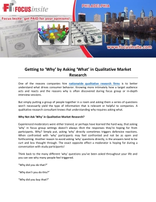 Getting to 'Why' by Asking 'What' in Qualitative Market Research