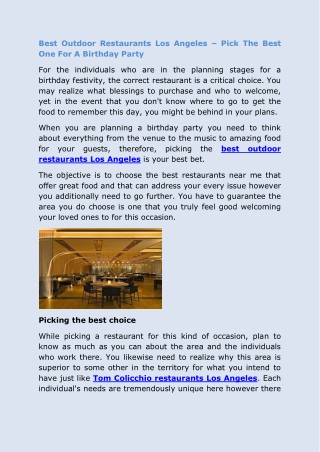 Best Outdoor Restaurants Los Angeles – Pick The Best One For A Birthday Party