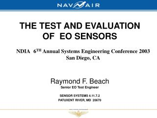 THE TEST AND EVALUATION OF  EO SENSORS