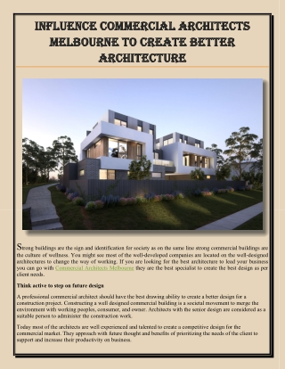 Influence commercial architects Melbourne to create better architecture