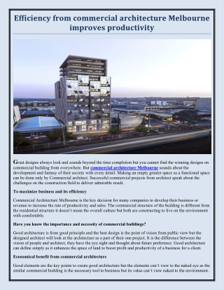 Efficiency from commercial architecture Melbourne improves productivity
