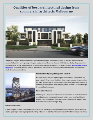 Qualities of best architectural design from commercial architects Melbourne
