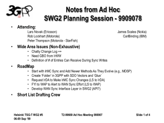 Notes from Ad Hoc SWG2PlanningSession - 9909078