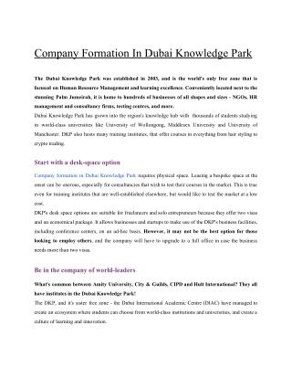 COMPANY FORMATION IN DUBAI KNOWLEDGE PARK