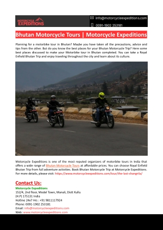 Bhutan Motorcycle Tours-Motorcycle Expeditions