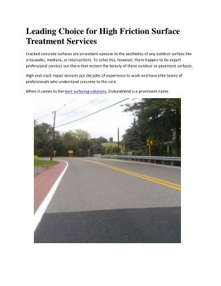 Leading Choice for High Friction Surface Treatment Services