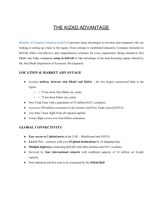Advantages of company formation in KIZAD