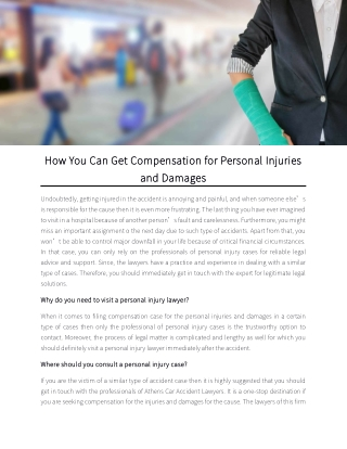 How You Can Get Compensation for Personal Injuries and Damages