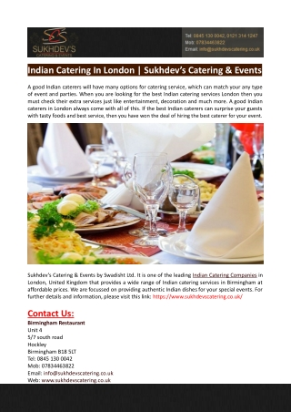 Indian Catering In London-Sukhdev's Catering & Events