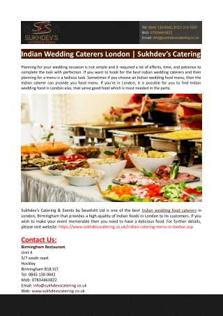 Indian Wedding Caterers London-Sukhdev's Catering