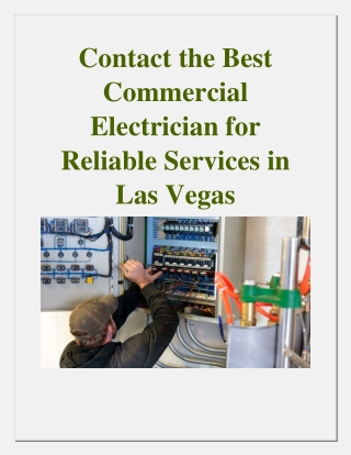Contact the Best Commercial Electrician for Reliable Services in Las Vegas